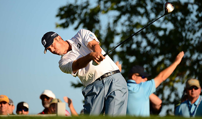 Matt Kuchar shot a 70 and is tied for the lead with Gary Woodland entering the final round.