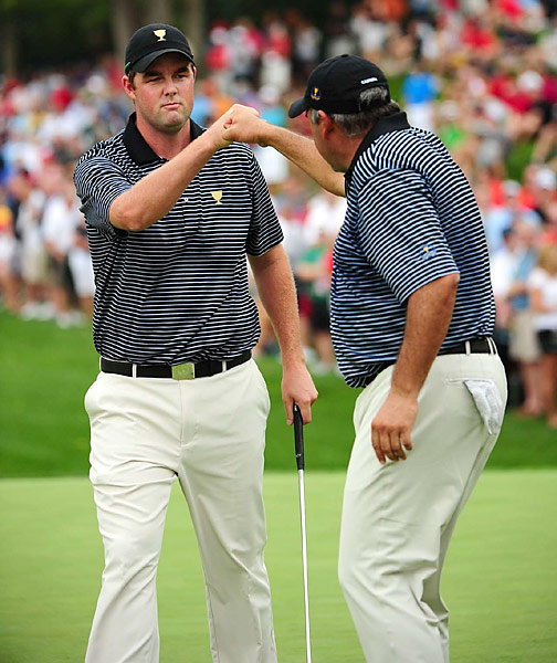 Mark Leishman and Angel Cabrera are 1-up on Brandt Snedeker and Webb Simpson through 13 holes.