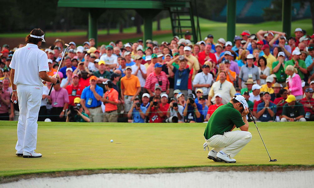Oosthuizen missed this putt on the first hole of sudden death that would've won the green jacket.