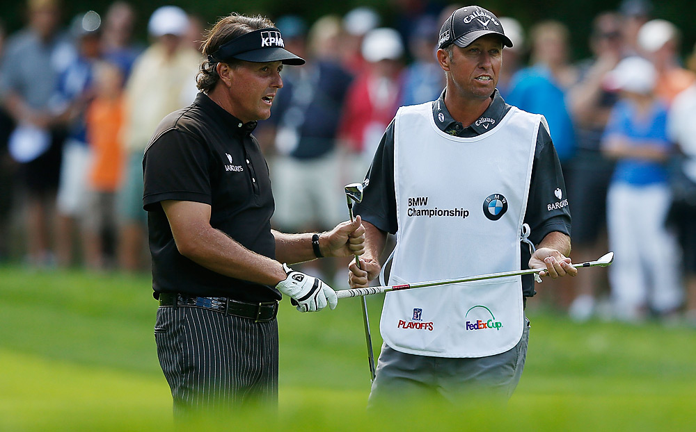 "Phil Mickelson and caddie Jim ""Bones"" Mackay teamed up for a tie for second place. Mickelson was tied for the lead entering the final round."