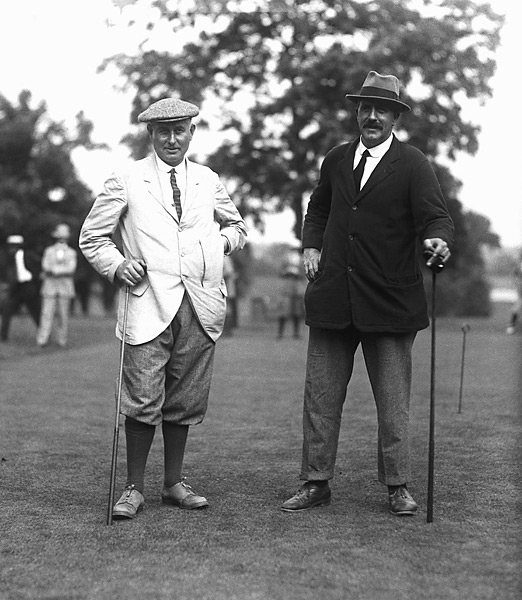 """The 1910s: Ted Ray                            At 6'0"""", 220 lbs, this two-time major winner (pictured at right, with Harry Vardon in Bronxville, N.Y., in 1920) might be golf's first bomb-and-gouger. Known for huge drives and poor accuracy, Ray competed against some of the best, including J.H. Taylor, James Braid, and Francis Ouimet, and eventually captained England in the unofficial Ryder Cup in 1926. His strength, size, and playing style were uncommon in an era when the prehistoric equipment forced most players to favor finesse over power."""