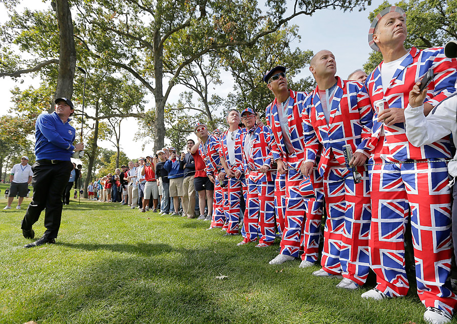 A group of patriotic British fans watched Rory McIlroy work on his game.