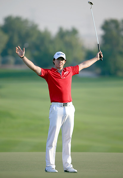 Rory McIlroy put an exclamation point on his historic 2012 season with a two-shot win over Justin Rose at the Dubai World Championship. It was McIlroy's fifth win of the year, and since winning his second major title at the PGA Championship in August, McIlroy added three wins and three other top-10 finishes in eight events.