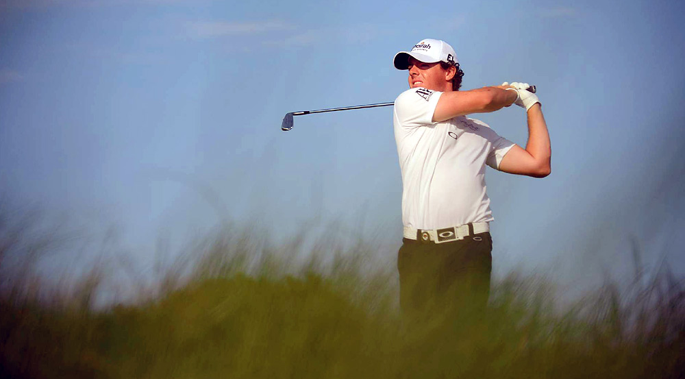 Rory McIlroy made two late birdies in the third round, which he also finished Sunday morning, to take a three-shot lead into the final 18 holes.