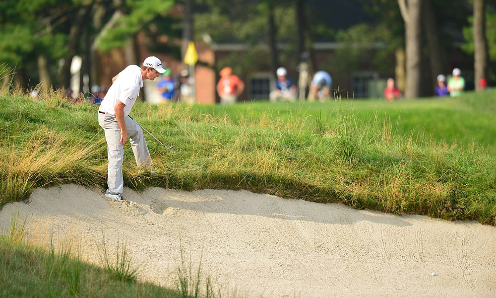Justin Rose faced a tough shot on the 13th hole during the second round at the Barclays at Bethpage Black in late August.