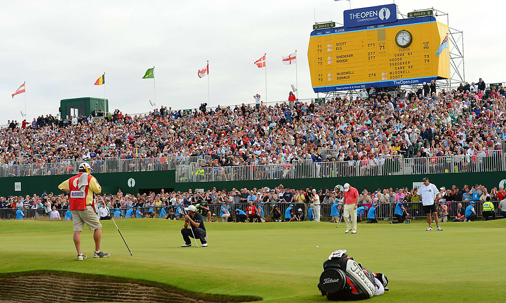 Scott missed this final putt on the 18th hole to fall to Els by one shot at Royal Lytham.