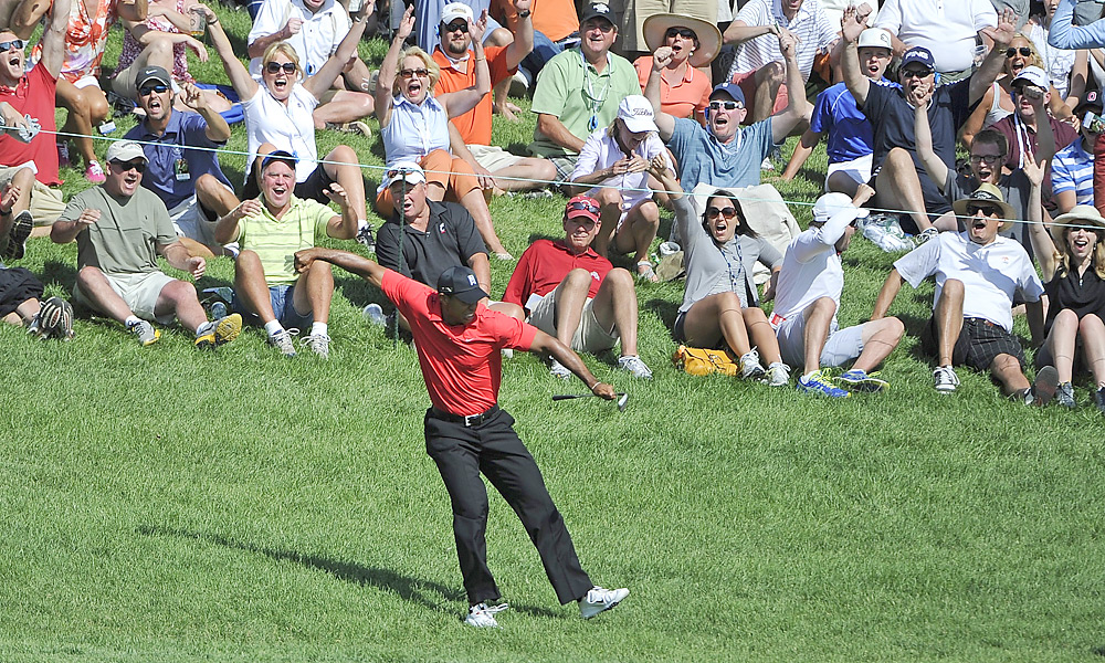 Woods birdied three of his last four holes, including this improbable chip-in on the 16th, to win the Memorial in June and match tournament host Jack Nicklaus with 73 career PGA Tour victories.