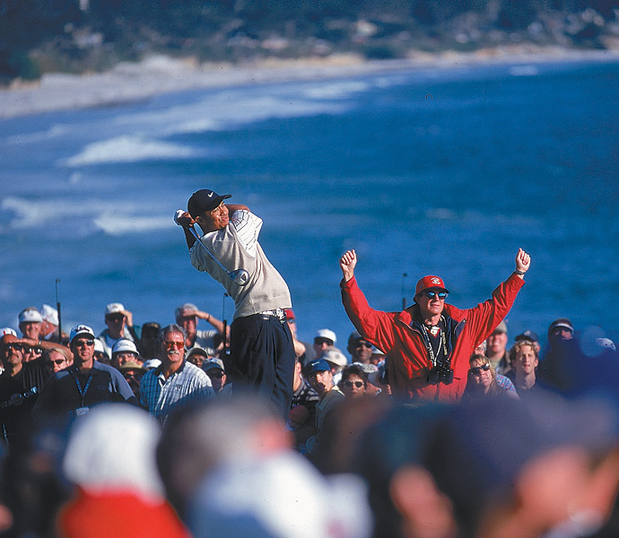The 2000s: Tiger Woods                           You wouldn't think that someone with the nickname Urkel could turn into a physical specimen whose swing speed and power would rival that of just about anyone in the history of the game, but in Tiger's case it happened. (He's shown here at the 2000 U.S. Open at Pebble Beach, which he won by a record 15 shots.) Though it's easy to think that his weightlifter's biceps and impressive physique are the keys to Tiger's massive power, the truth is his swing speed is more a product of core strength, amazing coordination, and sheer athletic talent.