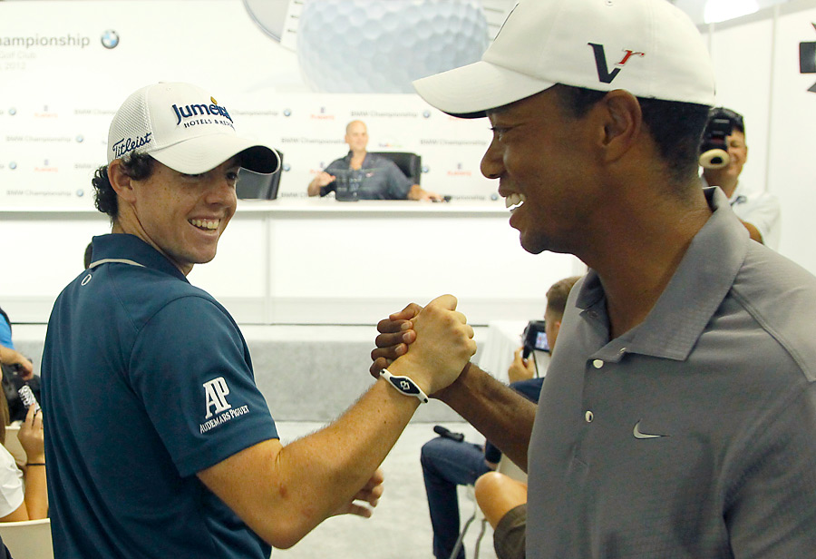Tiger Woods and Rory McIlroy crossed paths between interviews during the Pro-Am of the BMW Championship.