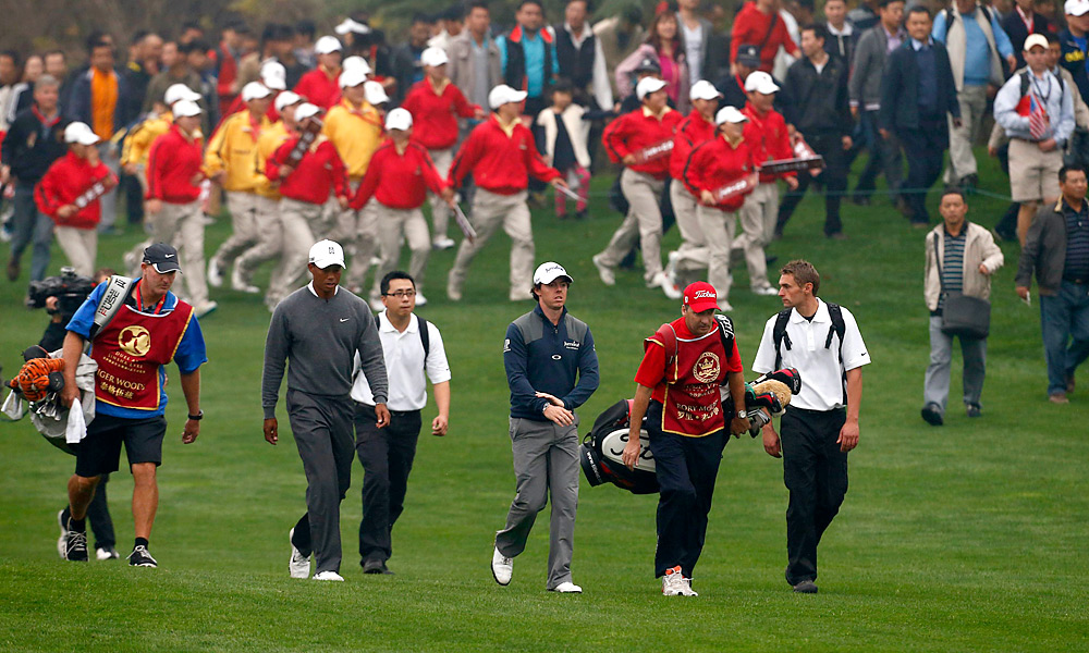 Woods and McIlroy met up in Zhengzhou, China, for an exhibition match. There was no prize money, but McIlroy beat Woods by a shot, 67-68. Sports Illustrated's Alan Shipnuck described the wild scene as barely-controlled chaos.
