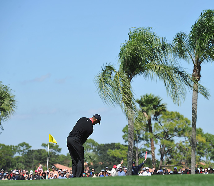 After firing three straight rounds of even-par 70, Tiger Woods struggled to a 74 in Sunday's wind-swept final round.