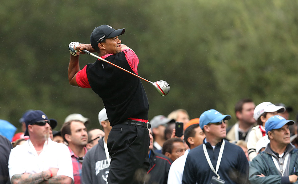 Woods shot a one-over 37 on the front nine, which effectively took him out of contention.