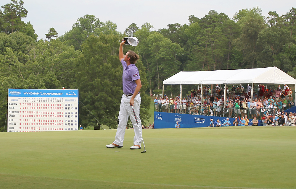 Simpson finally got his first victory at the Wyndham Championship in August.
