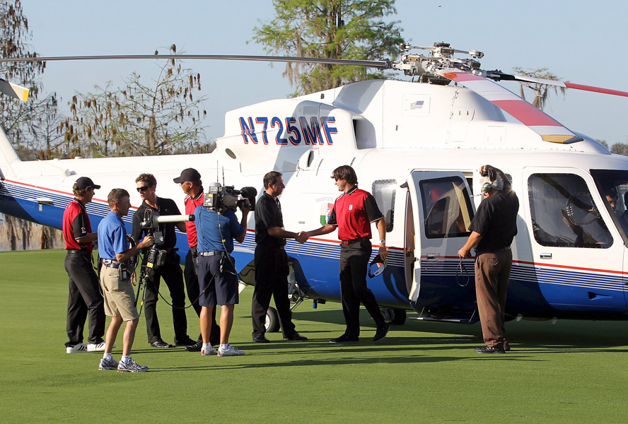 Bubba Watson emerged from a helicopter prepared to play for team Isleworth.