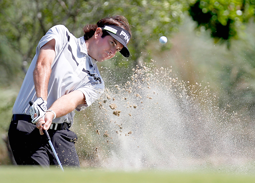 In his first action since winning the Masters, Bubba Watson made four birdies and three bogeys for a one-under 71.