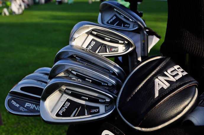 Ping staffer Mark Wilson is loaded up with Ping i20 irons, Ping Tour wedges (52- and 60-degrees), plus a couple of Ping Anser hybrids.