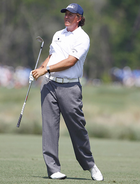 Phil Mickelson is six shots back after making three birdies and one bogey in the third round.