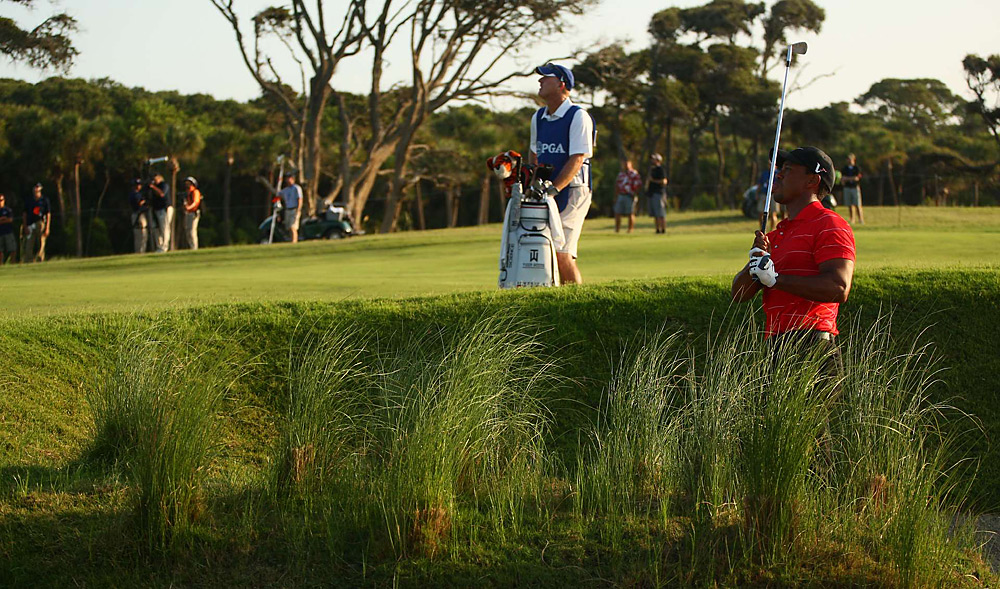 Woods was on the course early Sunday morning to finish his third round. He played his remaining 11 holes in one under, but still trailed Rory McIlroy by five entering the final round.