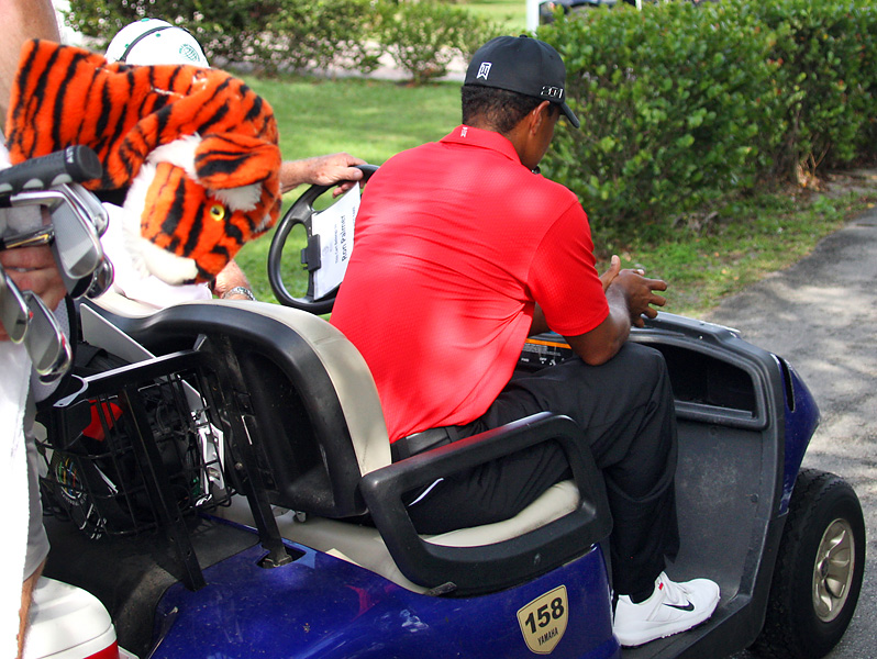 Woods was taken off the course in a golf cart and was seen limping from the cart to his car in the players' parking lot.