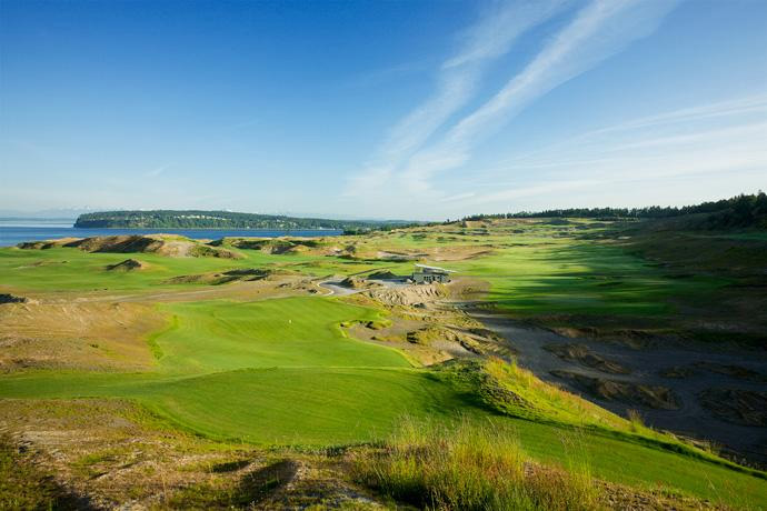 Chambers Bay (No. 64 U.S.) $109-$219                                                          In the middle of June, the sun doesn't set until 9 p.m. But super-twilight starts at 5:30 p.m. That's plenty of time to breeze through 18 on a Scottish-style links overlooking Puget Sound.More Top 100 Courses in the U.S.: 100-76 75-5150-2625-1                                                          More Top 100 Courses in the World: 100-76 75-5150-2625-1