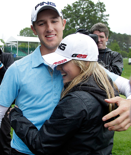 Ernst, a 22-year-old rookie, celebrated with his girlfriend, Alison Ross.