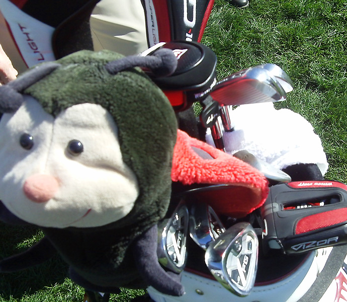 Padraig Harrington has a unique headcover guarding his Wilson FG Tour V2 irons and Wilson Vizor putter.