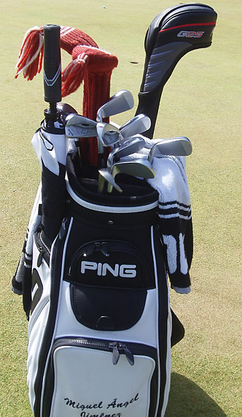 36-hole leader Miguel Angel Jimenez plays Ping clubs.