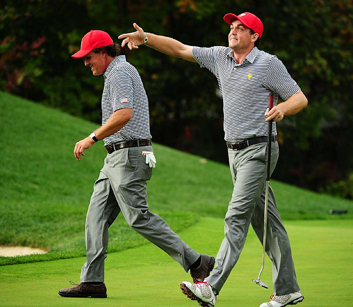 Phil Mickelson and Keegan Bradley teamed up Friday afternoon to defeat Jason Day and Graham DeLaet 4 &3.