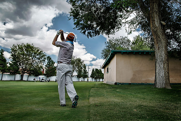 """The third hole is a gentle right-dogleg that calls to mind the famous """"road hole"""" at St. Andrews because of the one-story building on the corner of the fairway. It used to be a private residence, but today it's the maintenance crew's main workshop."""