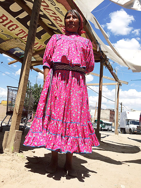 Tarahumara are a Native American people of northwestern Mexico, and many are easily identifiable by their long, colorful hand-made dresses. They sell homemade jewelery and other goods in downtown Juárez.