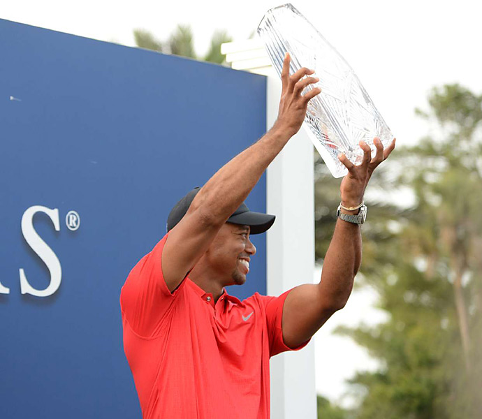Woods joined Fred Couples, Davis Love III and Steve Elkington as the only two-time winners at Sawgrass.