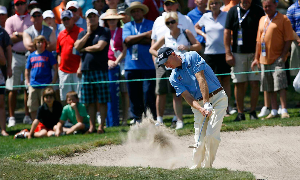 Jim Furyk was tied for the lead heading into the final round. He holed out this bunker shot for eagle on the first hole, but played the next 17 in even par.