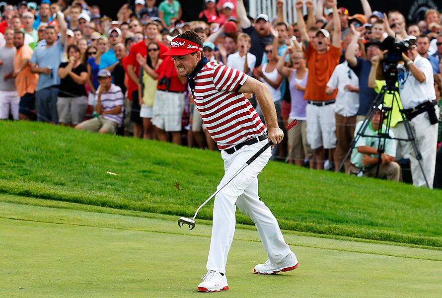 Keegan Bradley drained this 15-footer for par on the final hole, then won the event after Jim Furyk made a double bogey.