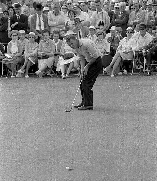 Arnold Palmer, here at the 1960 Masters, played most of his career without a hat.