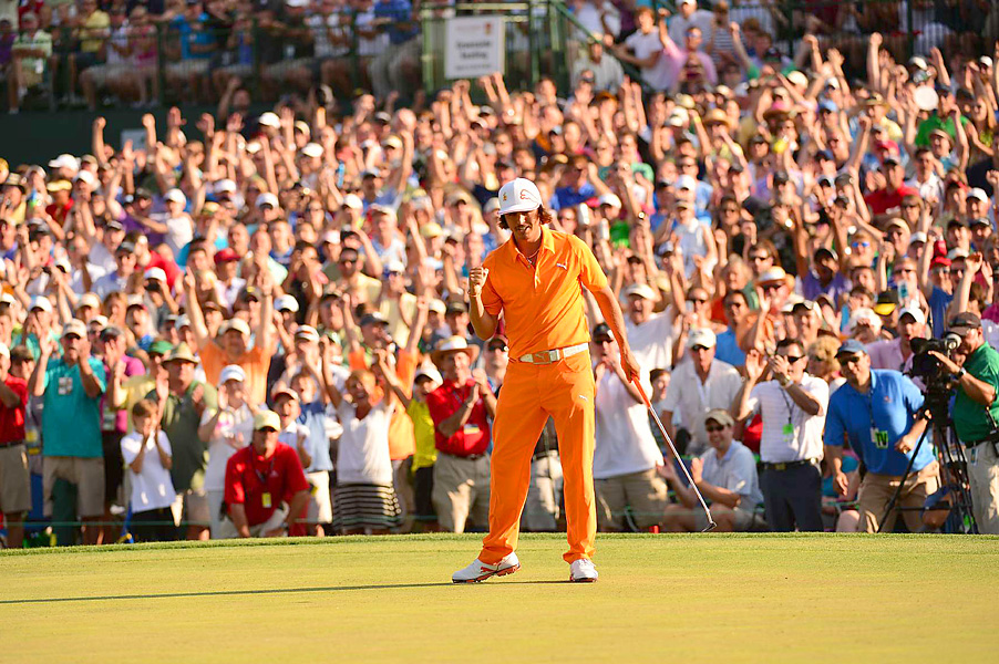 Rickie Fowler defeated Rory McIlroy and D.A. Points with a birdie on the first hole of sudden death to win the Wells Fargo Championship and claim his first career PGA Tour title.