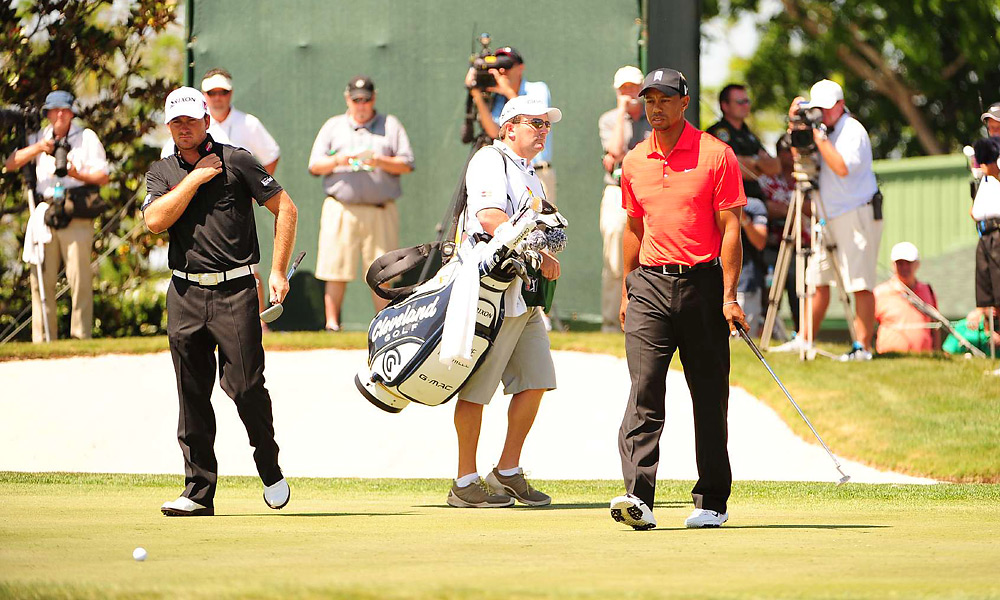 Woods was paired with Graeme McDowell in the final group. McDowell shot a 74 and finished five back.