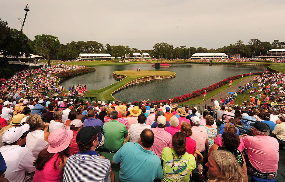 Once again, the par-3 17th hole was a popular spot for fans -- and a pressure-packed hole for the players.
