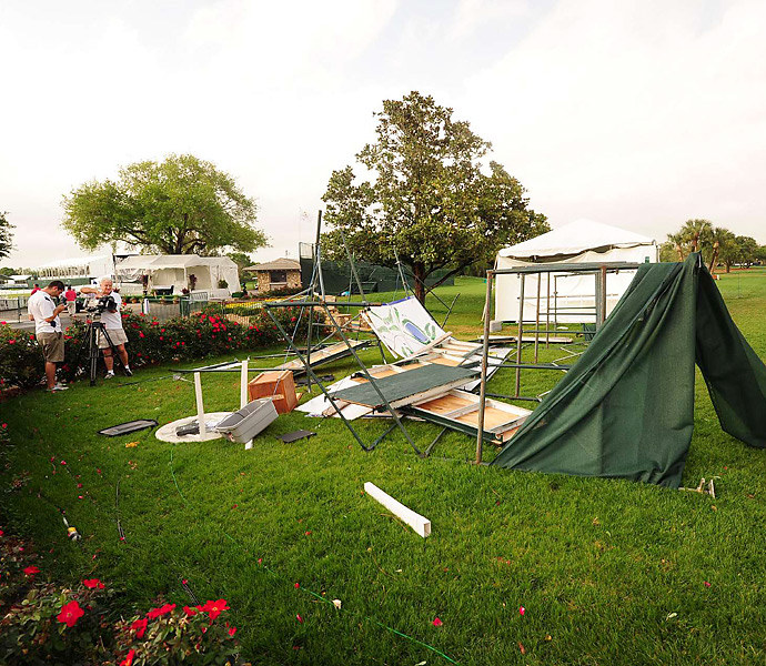 After the storm cleared, photographers flocked to the course to assess the damage.