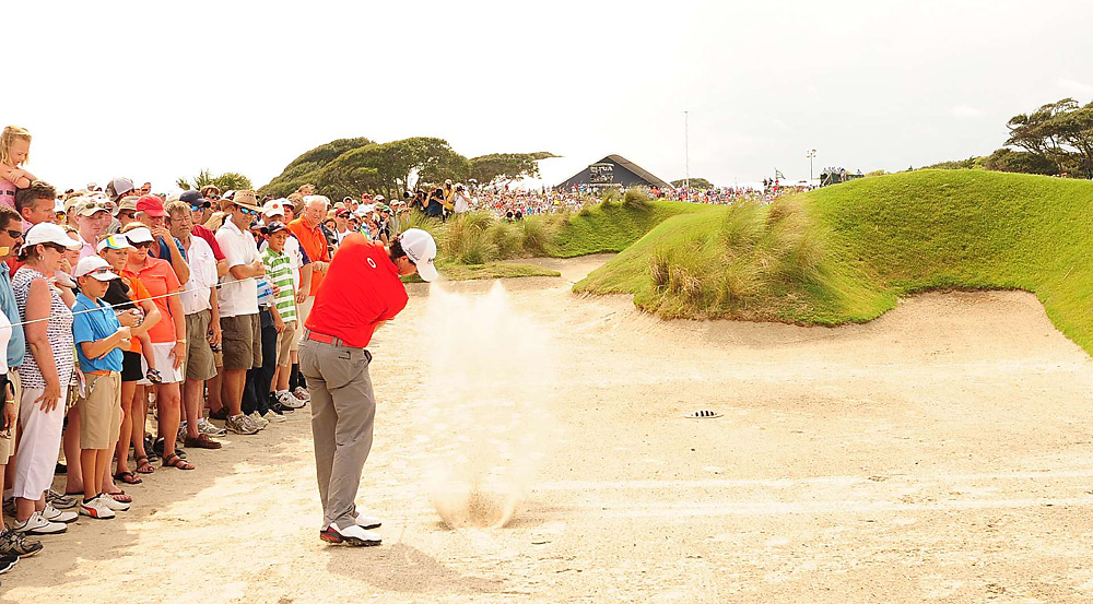 Even when he found one of Kiawah's many sand areas, McIlroy was able to escape unscathed.