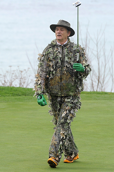 The King of Pebble Beach                           Bill Murray is a regular at the Pebble Beach Pro-Am. His antics have been well documented in photos over the years. Here are some of his best moments -- including his camouflage-and-feather getup from the third round at the 2012 Pro-Am.