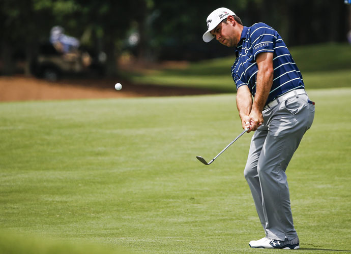 Gary Woodland chips onto the second green. He shot 70 and was -8, four shots back of the lead.