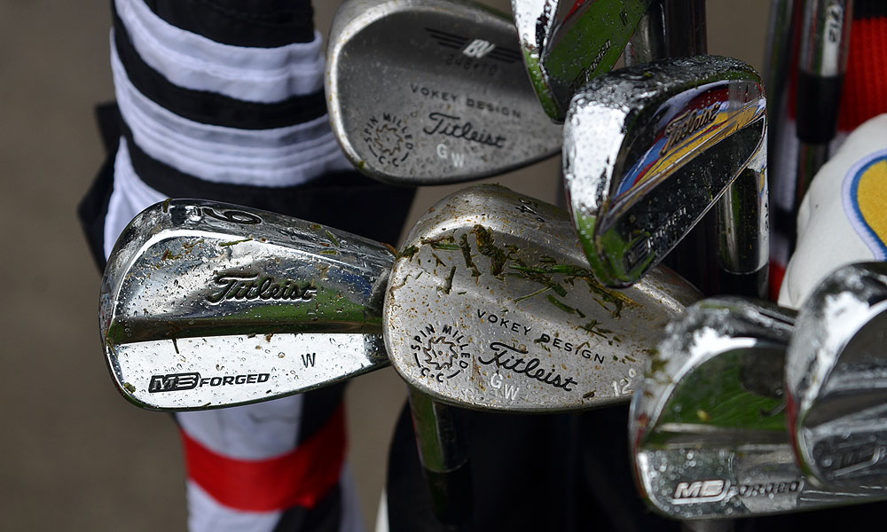 Gary Woodland's Titleist 712MB irons have a special chrome finish that shines more than the sets sold at retail.