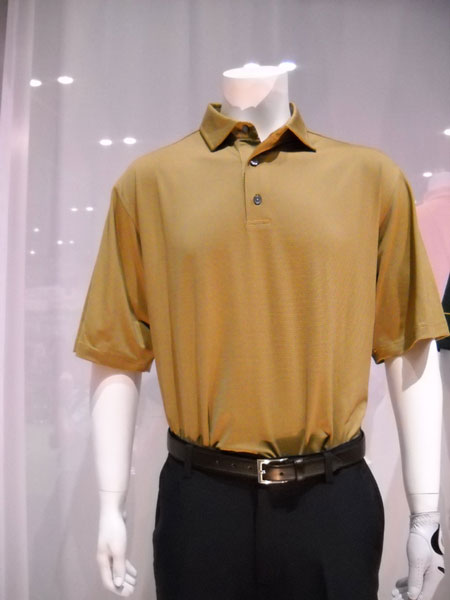 FootJoy Adirondack                           A stretch lisle golf shirt with self collar from the new FootJoy Adirondack apparel collection. I just liked the beautiful, masculine color, a sort of sandy brown or dark golden rod. ($68)