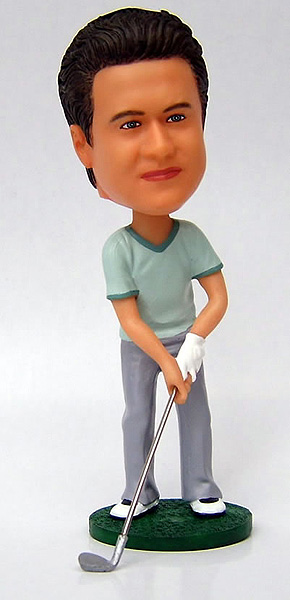 usually depict stars and celebrities, but you can create a personalized bobblehead of anyone you like by picking skin tones, hair color, eye color, a pose and then sending a few photos to Headbobble's Web site. There are several golf-themed models to choose from for $89.99.                           More information at headbobble.com