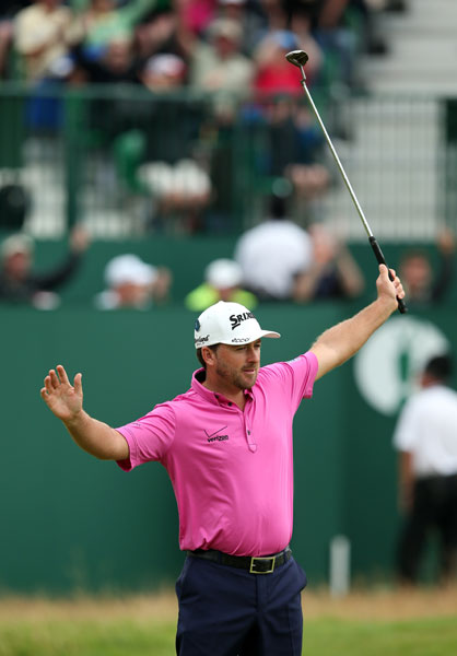 Graeme McDowell celebrates his eagle putt on the 18th green. He shot 67 Sunday and earned a tie for ninth at -10.
