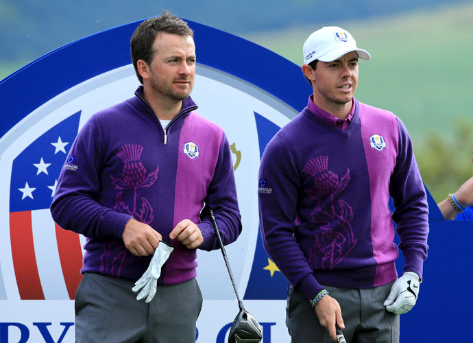 WEDNESDAY                                 Rory McIlroy chats with teammate and countryman Graeme McDowell. The state of their friendship and potential Ryder Cup partnership has been a matter of much debate this week in light of McIlroy's ongoing lawsuit against McDowell's management company, Horizon Sports.