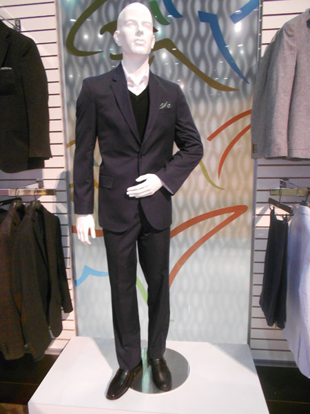 Greg Norman Collection also makes formal apparel, like this suit on display in the showroom.