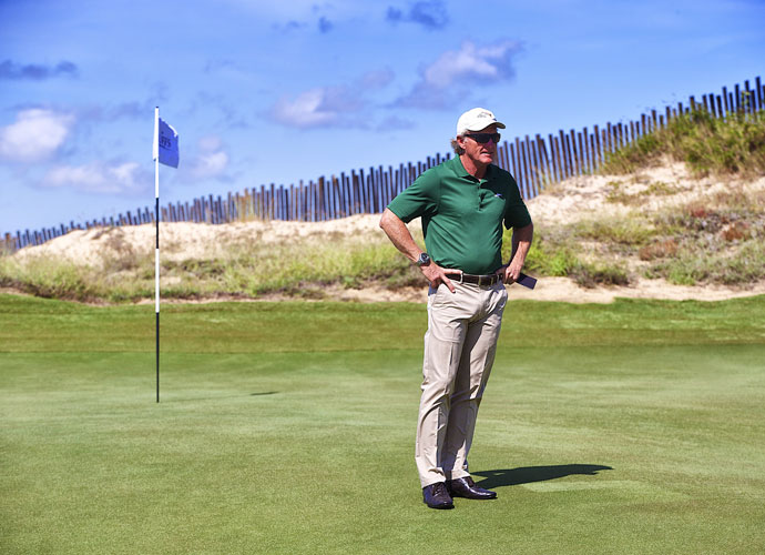 "Norman compared The Bluffs to his well-received Doonbeg design in Ireland. ""As you walk down the fairways and you look at all the undulations, and the greens settings -- most of those are exactly the way the original form (of the land) was,"" Norman said at the course's grand opening. ""So it's almost the least disturbance approach you can possibly do."""