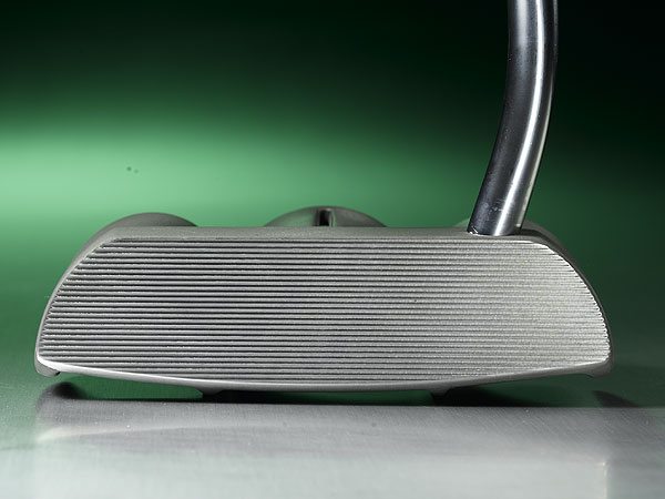 The face-balanced putter has a                             milled horizontal line face pattern                             to give it a slimmer look.
