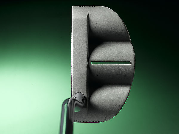 The head's center of                       gravity is directly in                       line with the center                       alignment mark on                       top. By contrast,                       many putters have                       the CG toward the                       heel side.